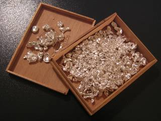 Silver flakes in a wooden box