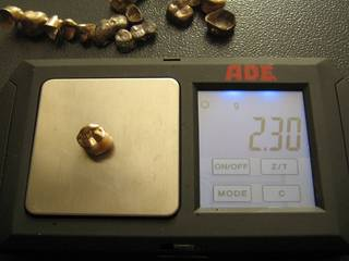 2.30 grams of dental scrap gold on the scale