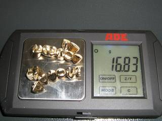 16.83 grams of dental scrap gold on the scale