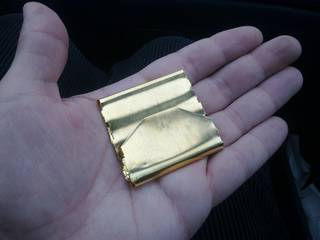 Refined gold sheet on my hand