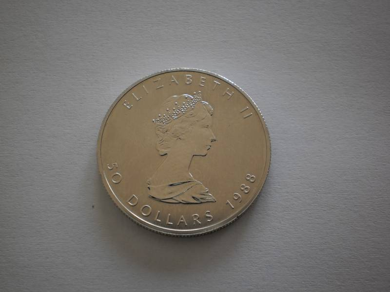 Platinum 50 dollar Maple Leaf Queen Elizabeth II
