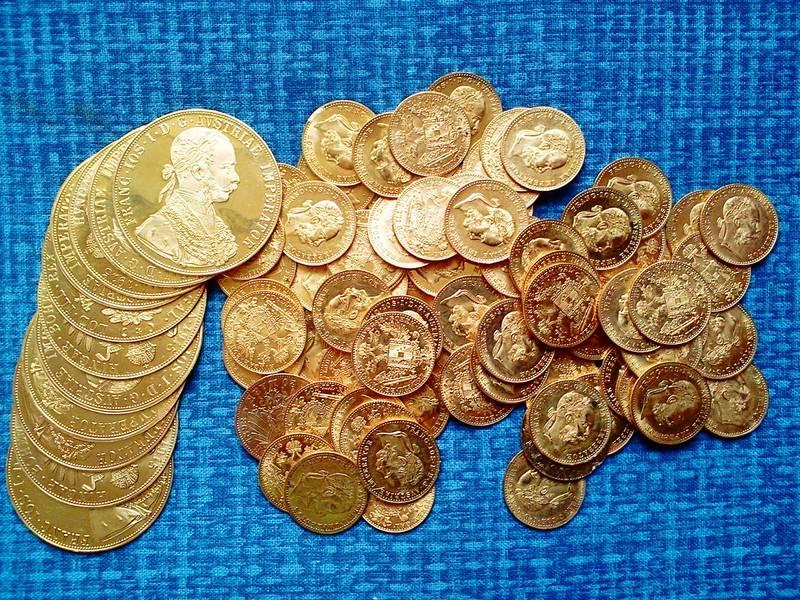 Beautiful pile of Austrian ducats
