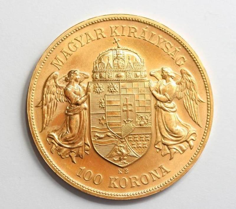 Hungarian gold coin of 100 korona