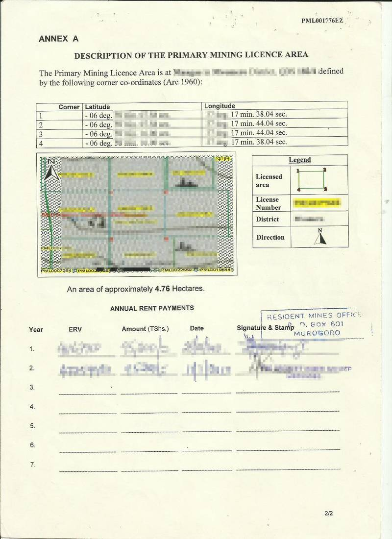 Sample Primary Mining License for gold in Tanzania