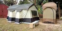 The main tent and shower tent