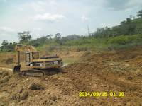 Excavator on the mining site in Ghana
