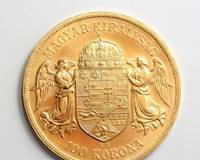 Hungarian gold coin of 100 korona