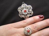 Filigree silver jewelry and ring